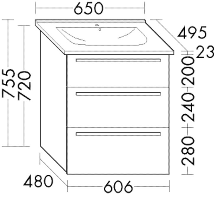 Image of Burgbad Keramik-Waschtisch und Waschtischunterschrank Essento Hacienda Schwarz/Alpinweiss, SETE065F0 SETE065F0906C0001