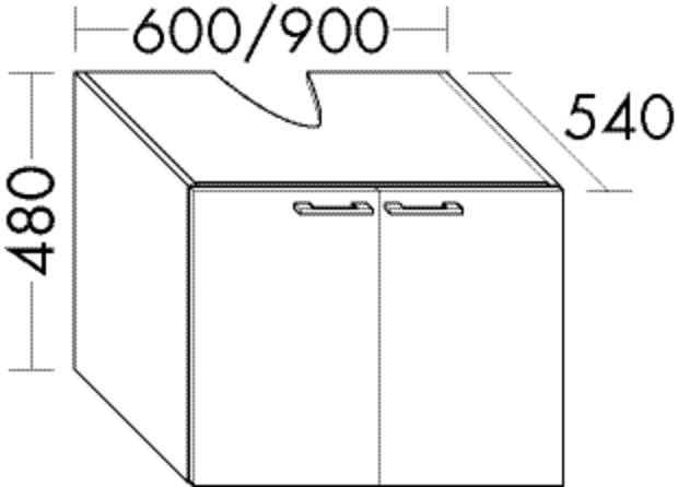 Image of Burgbad Waschtischunterschrank Sys30 PG2 480x900x540 Anthrazit Hochglanz Rahmen, WURV090F2226 WURV090F2226