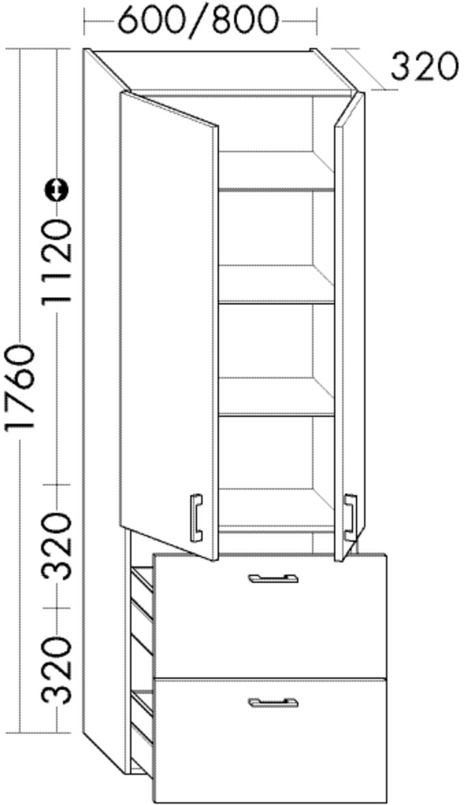 Image of Burgbad Hochschrank Sys30 PG3 1760x800x320 Grau Hochglanz, HSBC080F1509 HSBC080F1509